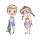 Little boy and girl with school bags. Watercolor illustration Stock Images