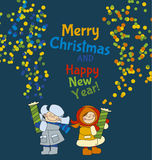 Little boy and girl shooting firecracker or fireworks. Adorable kids in winter clothes playing outdoor. Christmas celebration children cartoon vector Royalty Free Stock Images
