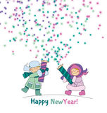 Little boy and girl shooting firecracker or fireworks. Adorable kids in winter clothes playing outdoor. Christmas celebration children cartoon vector Royalty Free Stock Photo
