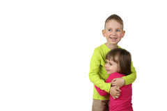 Little boy and girl stand in embrace Royalty Free Stock Photos
