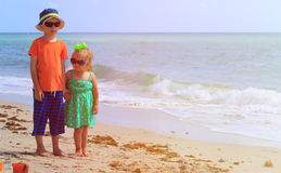 Little boy and girl on summer beach Royalty Free Stock Photography