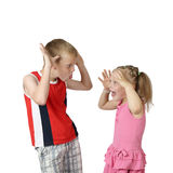 Little boy and girl teasing each other Stock Photos