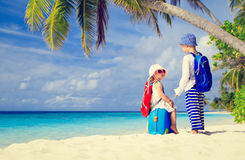 Little boy and girl travel on summer tropical Stock Photos