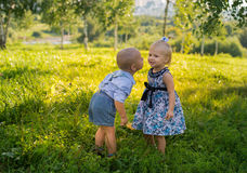 Little boy and girl Stock Photos