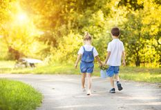 Little boy and girl on a walk Stock Photo