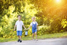 Little boy and girl on a walk Royalty Free Stock Image