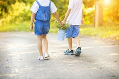Little boy and girl on a walk Royalty Free Stock Photos