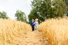 Little boy and girl on a wheat field royalty free stock photos