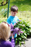 Little boy give lilac to mother Stock Image