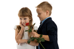 Little boy gives a red rose to girlfriend. Royalty Free Stock Photography