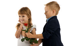 Little boy gives a red rose to girlfriend. Royalty Free Stock Photos