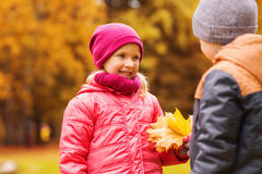 Little boy giving autumn maple leaves to girl Stock Photos