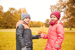 Little boy giving autumn maple leaves to girl Stock Images