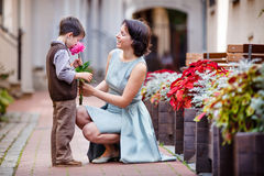 Little boy giving flower to his mom Royalty Free Stock Photos