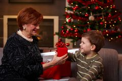 Little boy giving surprise at christmas Stock Photography