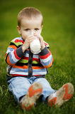 Little boy with glass of milk Royalty Free Stock Photography