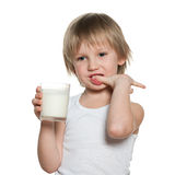 Little boy with a glass of milk Royalty Free Stock Photo