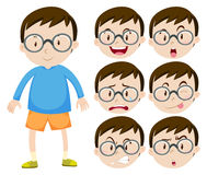 Little boy with glasses and many facial expressions Royalty Free Stock Image