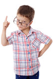Little boy in glasses with pointing hand Royalty Free Stock Photos