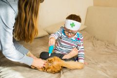 Little boy in the glasses with syndrome dawn and blonde girl play with toys and ginger cat.  stock photos
