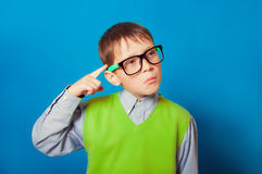 Little boy with glasses for vision Royalty Free Stock Images