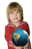 The little boy with the globe Stock Image