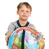 Little boy with globe Royalty Free Stock Images