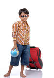 Little boy with globe and bag Stock Images
