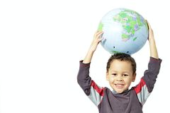 Little boy holding a globe royalty free stock photo