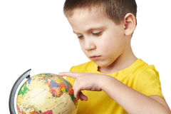 Little boy with globe Stock Photography
