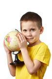 Little boy with globe Royalty Free Stock Image