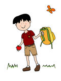 Little boy going back to school. Vacations are over it is Back To School time: little boy cartoon character in uniform going back to school with his apple and Stock Photography