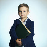 Little boy going to school.child with book Royalty Free Stock Images