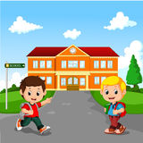 Little boy going to school royalty free illustration