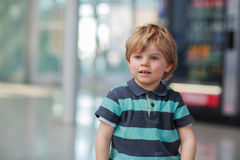 Little boy going on vacations trip at airport Royalty Free Stock Photo