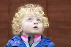 Little boy with golden curly hair looking at the sky Stock Photo