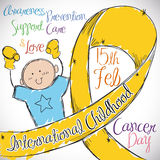 Little Boy with Golden Ribbon Commemorating International Childhood Cancer Day, Vector Illustration Stock Photo