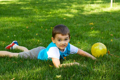 Little boy on the grass. Royalty Free Stock Image