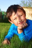 Little boy in grass Royalty Free Stock Images
