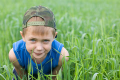 Little boy in the grass Stock Images