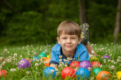 Little Boy in Grass Royalty Free Stock Photography