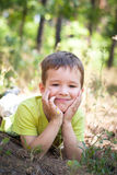 Little boy in the grass Royalty Free Stock Photo