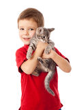 Little boy with gray kitty in hands Royalty Free Stock Image
