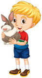 Little boy and gray rabbit Royalty Free Stock Images
