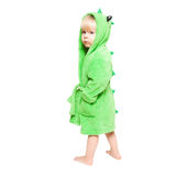 The little boy in green dressing gown Stock Images
