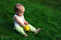 Little boy on a green grass. Little boy with pail sits on a green grass Royalty Free Stock Photos