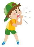Little boy with green hat shouting. Illustration Royalty Free Stock Images