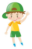 Little boy with green hat waving. Illustration Stock Images