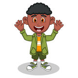 Little boy with green jacket and green trousers waving his hand cartoon Royalty Free Stock Images