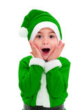 Little boy in green Santa Claus costume Stock Photos